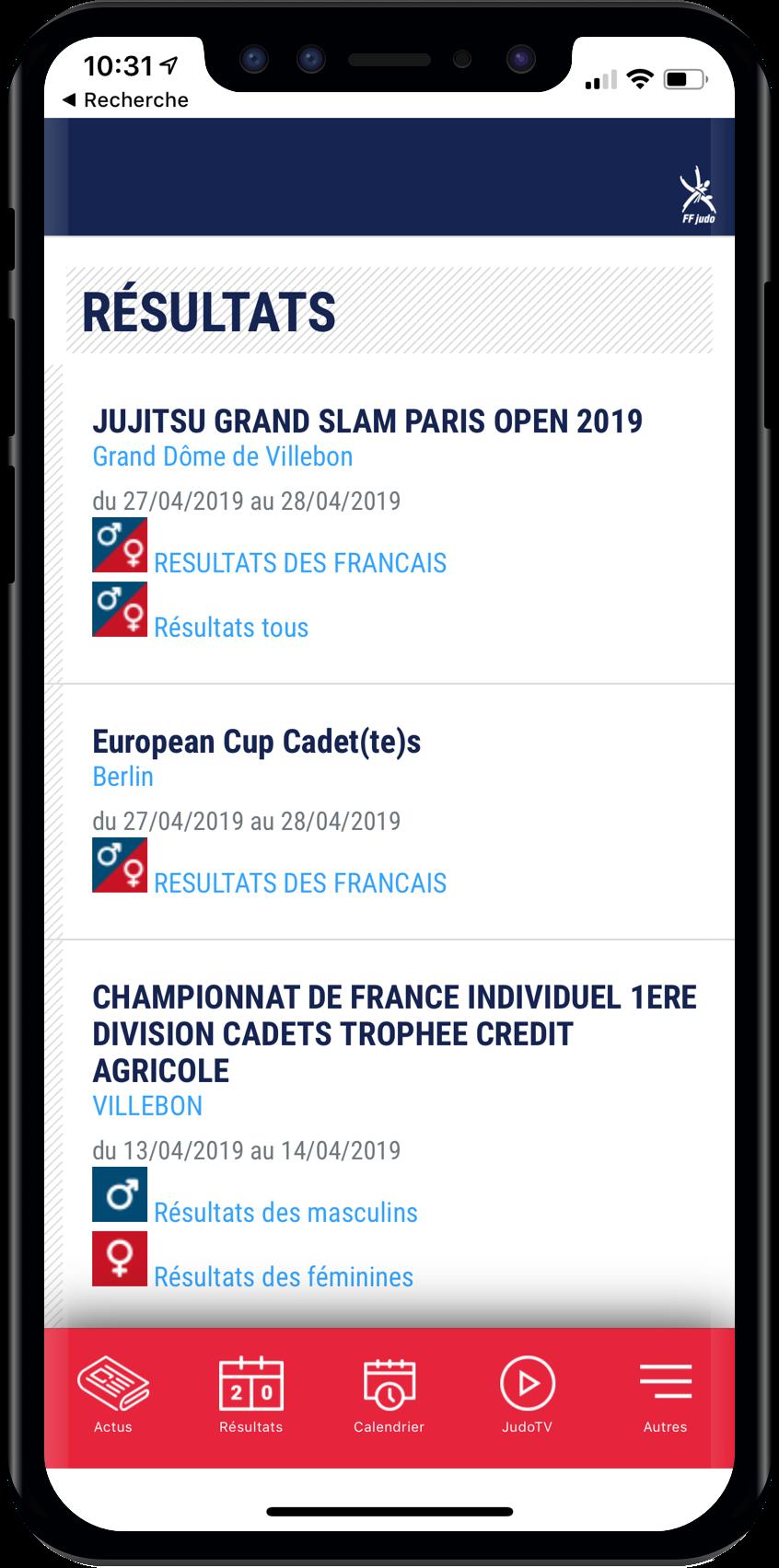 Resultats competion sur application FFJ
