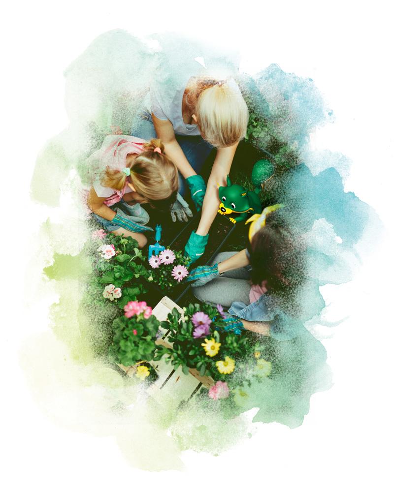 jardinage en famille mascotte nortene