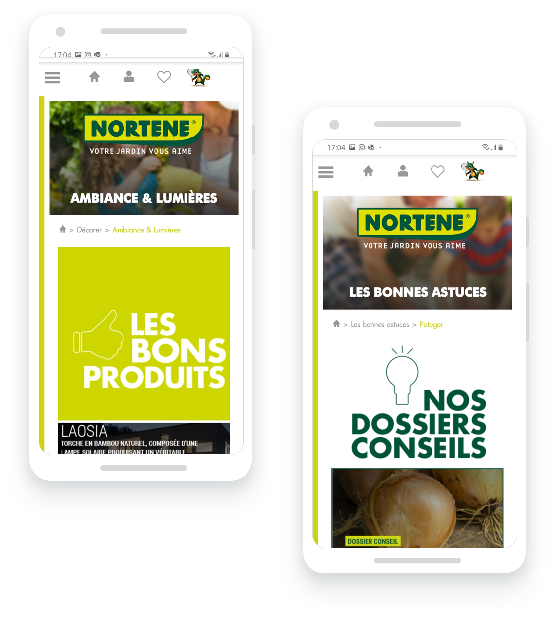 site internet nortene sur mobile